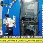 Volcó un micro en Chubut: varios muertos y numerosos heridos